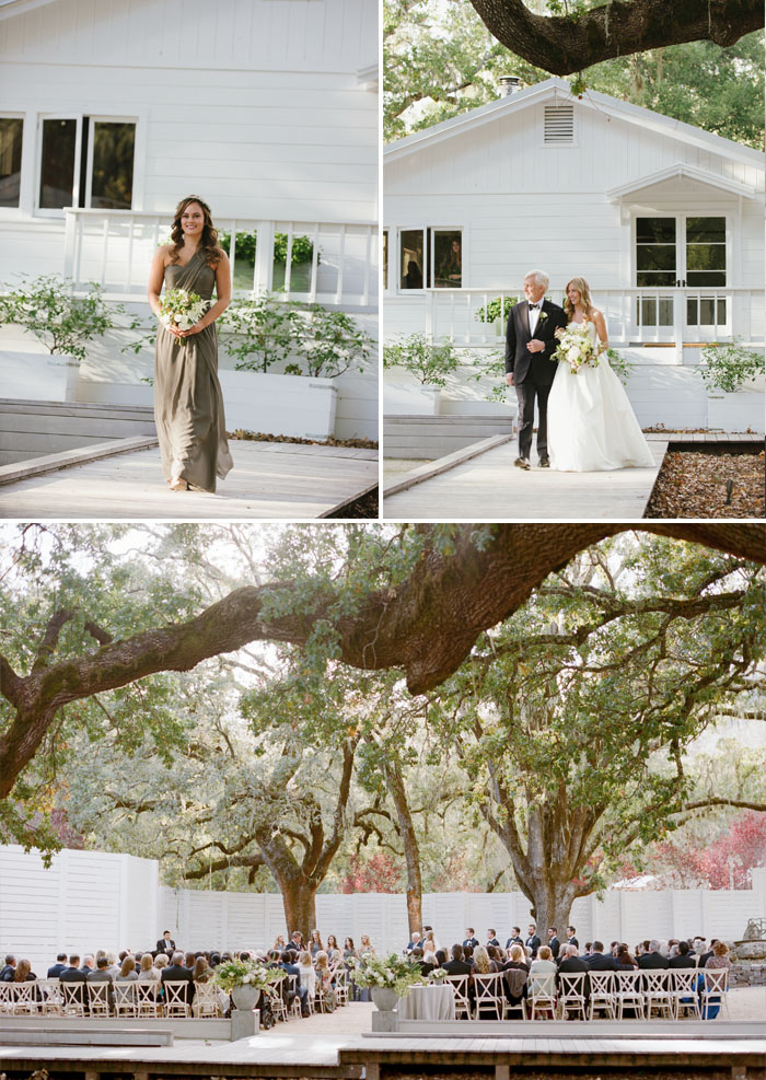 Bride walks down the aisle with father, guests sit at wedding ceremony; Sylvie Gil Photography
