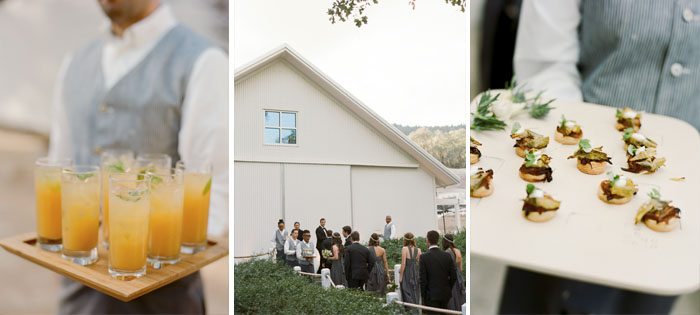 Hors d'oeuvres and drinks before dinner at the reception; Sylvie Gil Photography