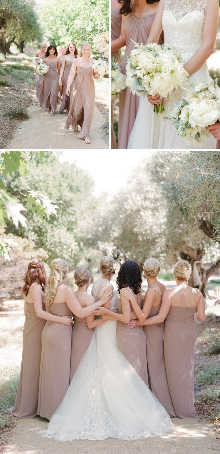 The bridesmaids pose for a bridal party shoot with Sylvie Gil, dressed in elegant strapless taupe gowns