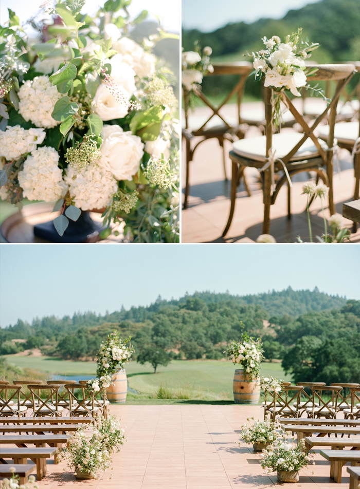 Floral accents from the ceremony space carry the same classic white themes of the bride's bouquet; photo by Sylvie Gil