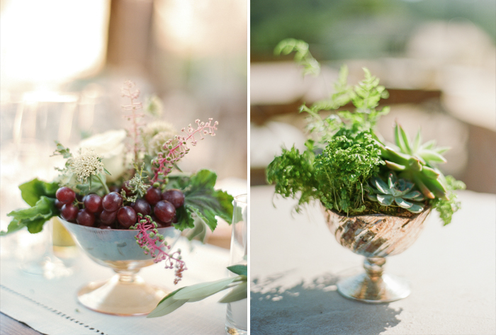 Table accents - gilded bowls filled with various plants, succulents, and fruit; photo by Sylvie Gil