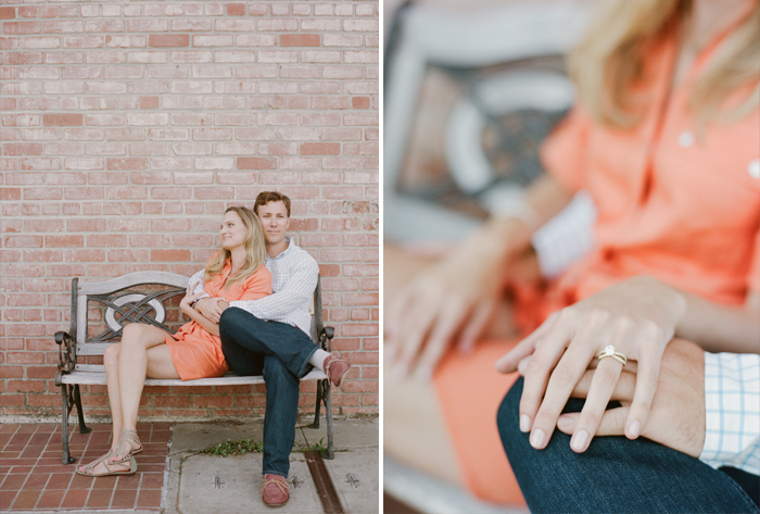 Cute couple enjoy each other's company and the bride-to-be shows off her engagement ring  during an engagement session with Sylvie Gil.