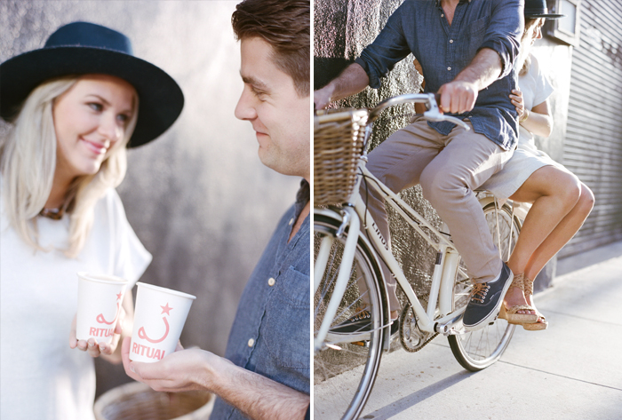 A couple smiles at one another over Blue Bottle Coffee in San Francisco during an engagement session with Sylvie GIl