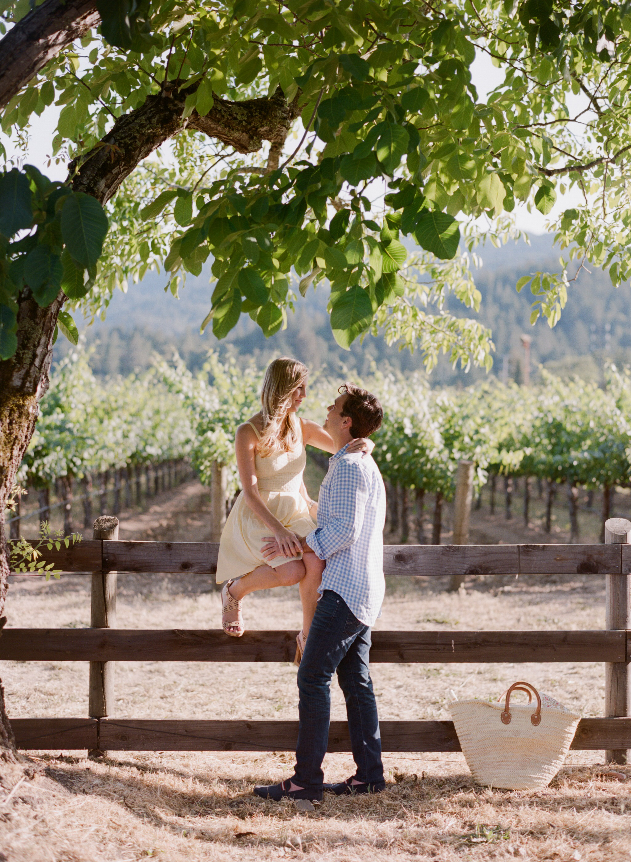 A couple gazes at one another in front of fields of grape vines at a Napa winery  during an engagement session with Sylvie Gil.