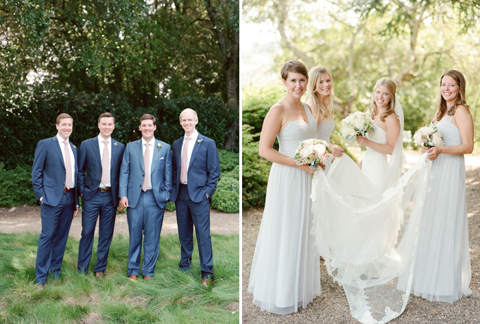 James and his dapper navy groomsmen, Sarah and her stunning bridesmaids; photo by Sylvie GIl
