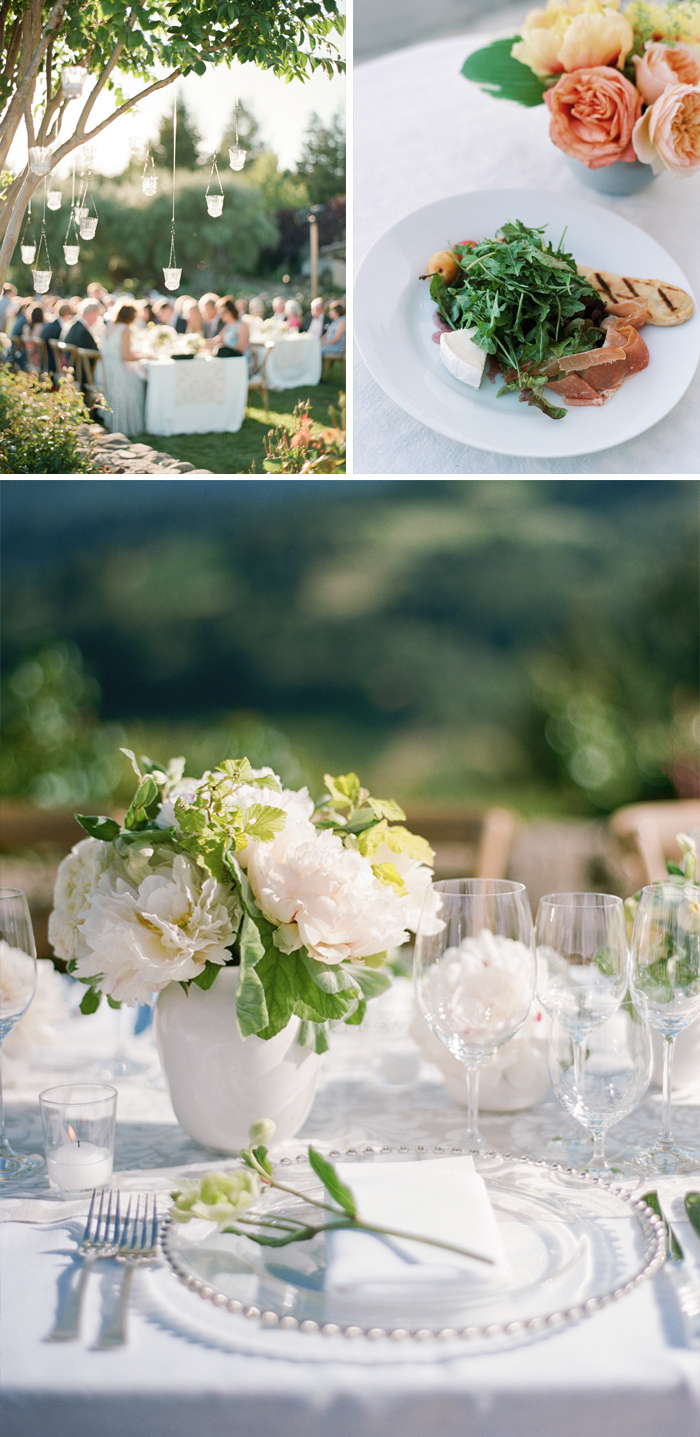 Gorgeous lighting ideas,artfully designed plates, and beautiful centerpieces added to the elegant reception atmosphere; photo by Sylvie Gil