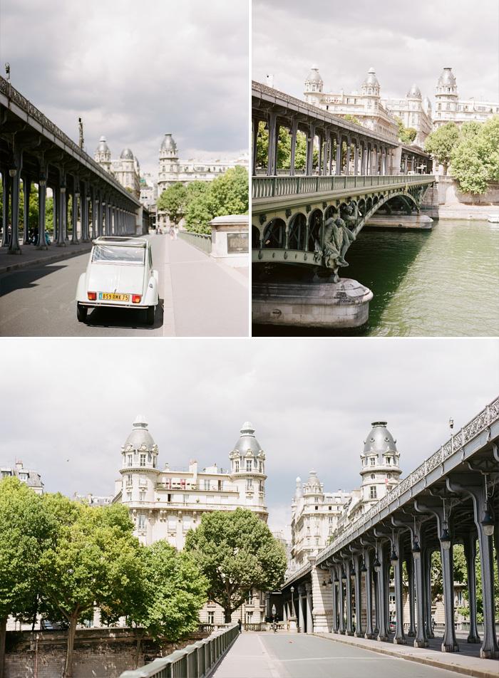 Several views of Bir Hakeim Bridge, and the Seine; photo by Sylvie Gil