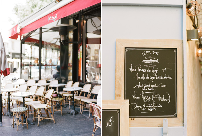 A typical Parisian cafe, a bistro menu; photo by Sylvie Gil
