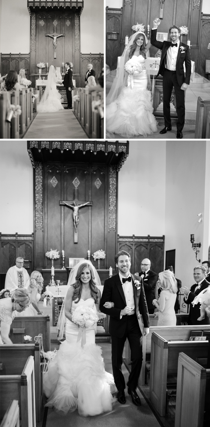 A classic church ceremony in Calistoga Ranch - Lauren & Michale walk back up the aisle, just married; photo by Sylvie Gil