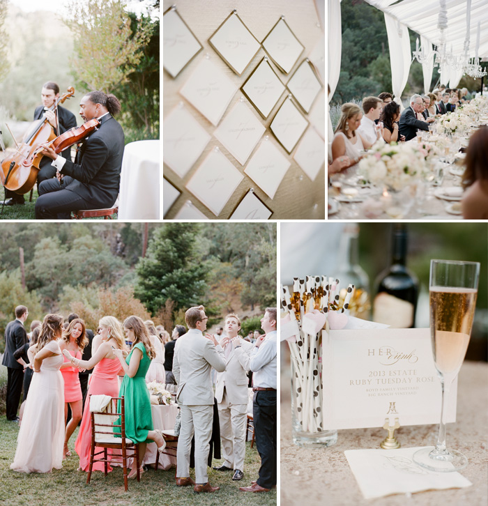 Accents from the outdoor reception - guests mingling, a champagne flute, and guest placecards hung on a pinboard; photo by Sylvie Gil