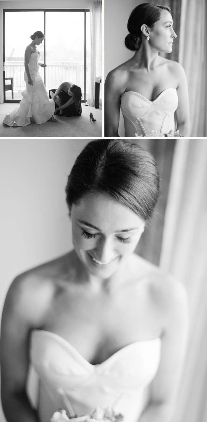 Artsy photographs of the bride before the ceremony wearing an Oscar de la Renta gown; photo by Sylvie Gil
