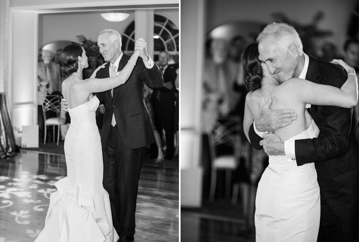 A loving father daughter dance at the indoor reception; photo by Sylvie Gil