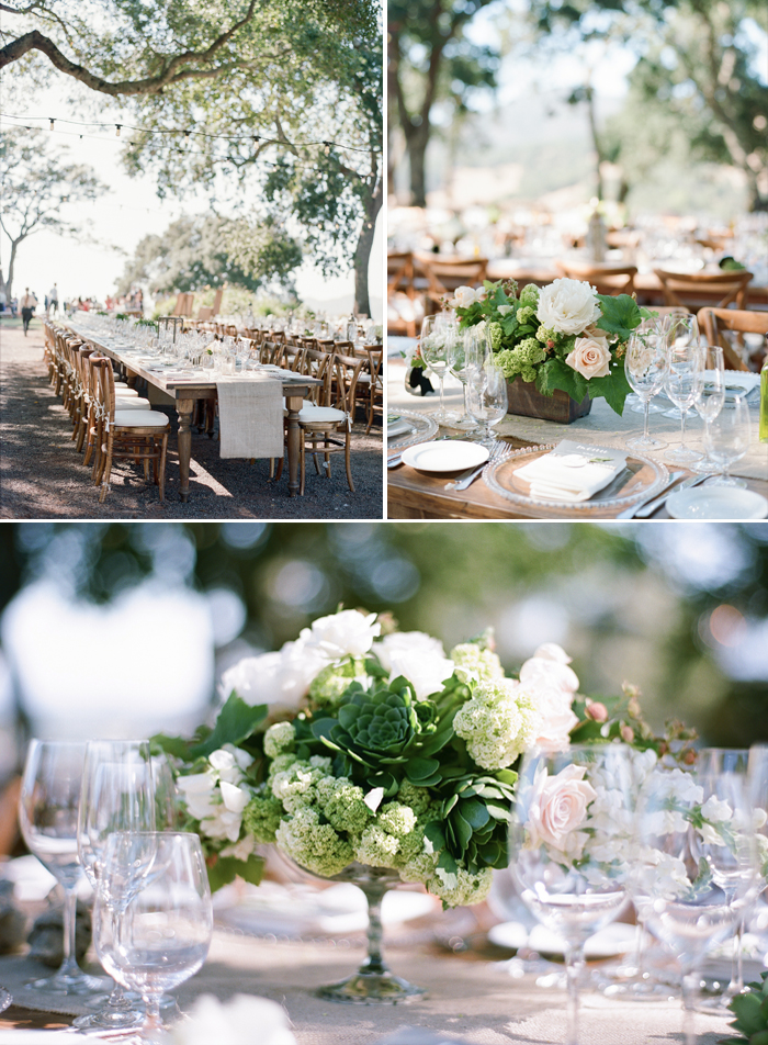Succulents and peonies again make an appearance in the wedding reception floral arrangements and centerpieces, long white tables for seating; photo by Sylvie Gil
