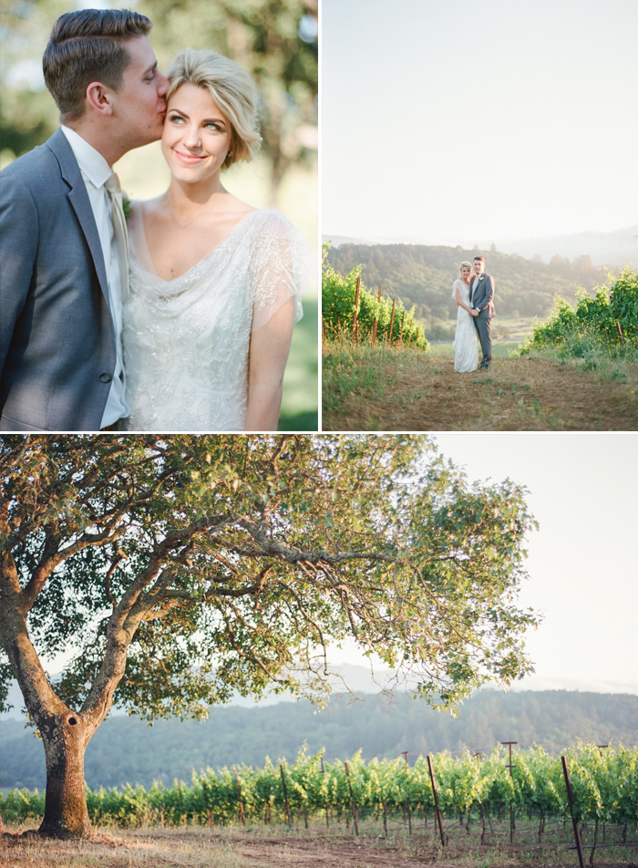 Whitney and Justin pose for cute couple shots in the vineyards surrounding the wedding space in Kunde Estate in Napa Valley; photo by Sylvie Gil