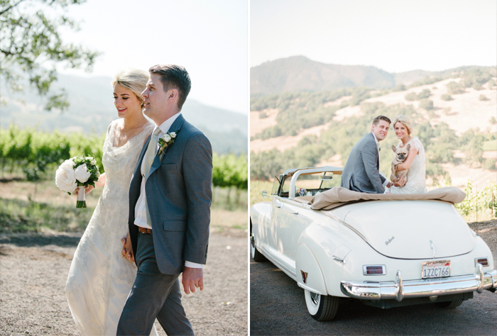 The couple walk together, then hold their adorable French bulldog in the back of a vintage white convertible; photo by Sylvie Gil