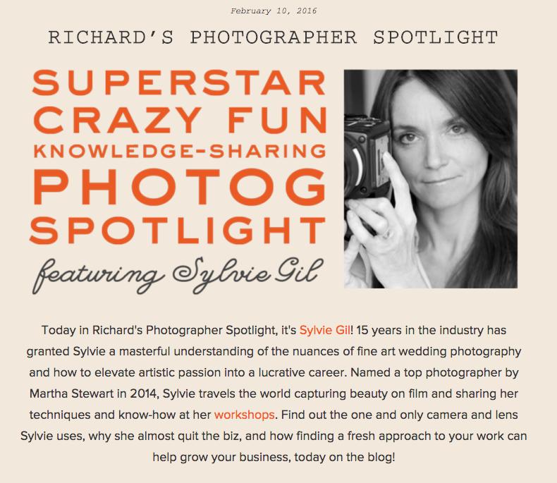 Sylvie Gil featured on Richard Photo Lab's Photographer Spotlight