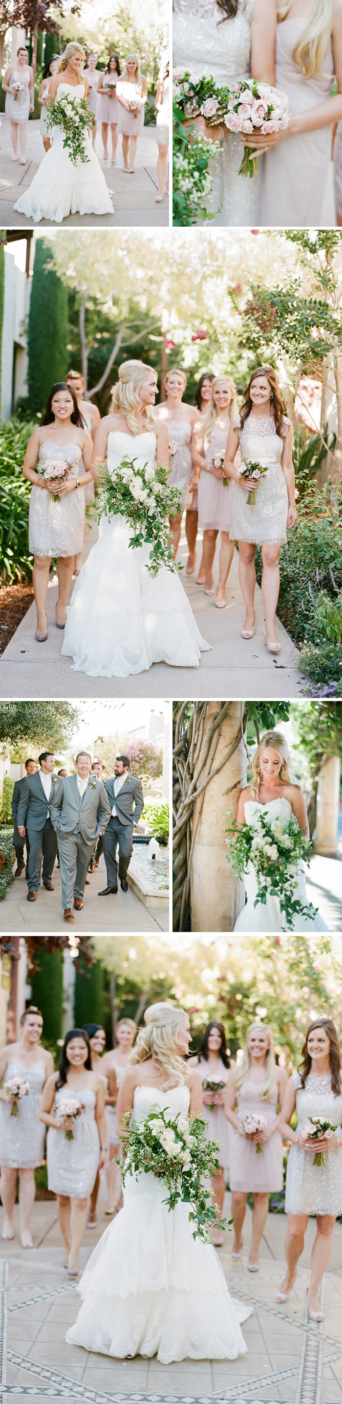 Bridal party shoot before the ceremony, a soft blush palette for the bridesmaids' dresses and bouquets, charcoal suits for the groomsmen; photo by Sylvie Gil