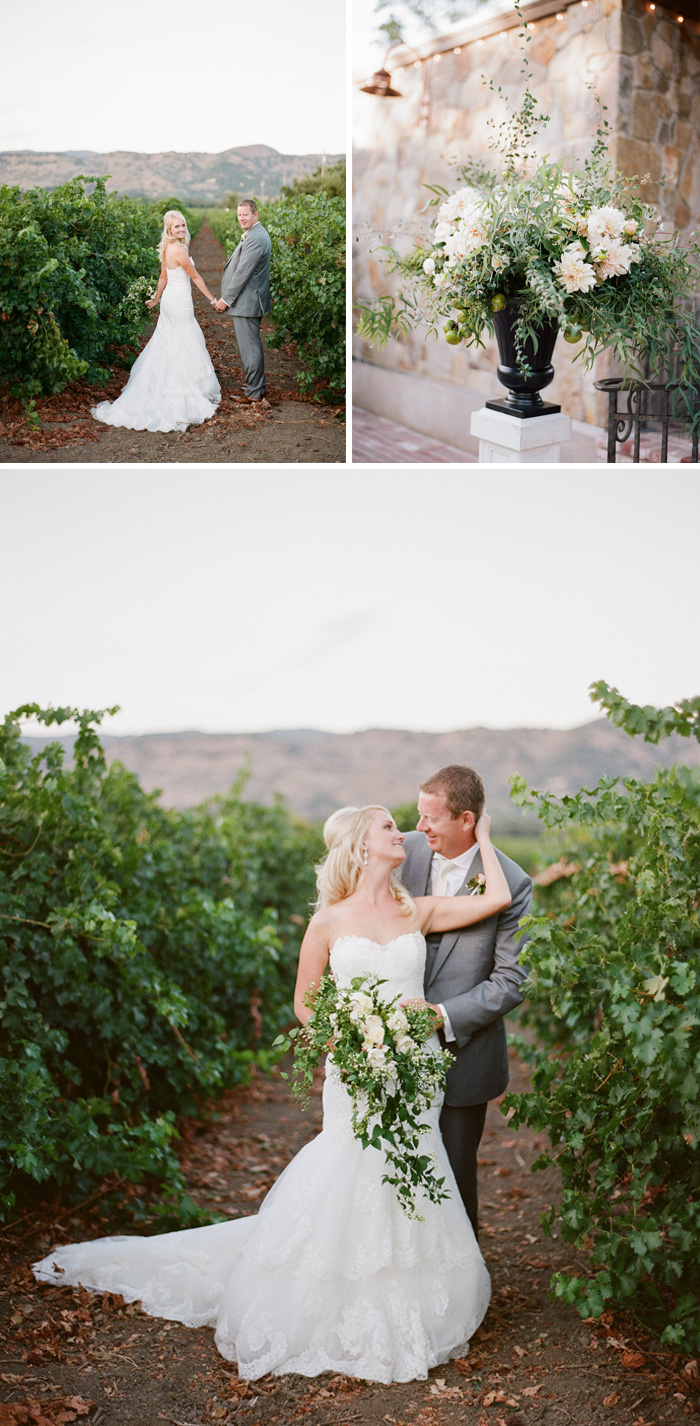 A couple shoot with Megan & Brett, the newlyweds stand in vast vineyards and share moments in the Napa sunset; photo by Sylvie Gil
