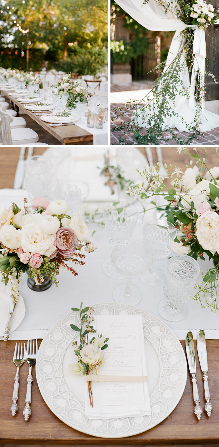 Gorgeous table details highlighted by Max Gill florals - the long wood tables provide homey yet elegant seating, with an elevated feel created out of fine china and silverware; photo by Sylvie Gil