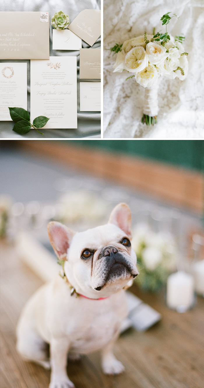 Olive and cream florals match the invitation suite - the couple's adorable French bulldog poses for the camera; photo by Sylvie Gil