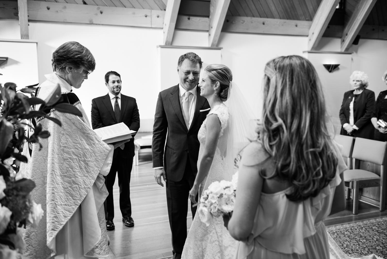Margo & Tanguy at their wedding ceremony, in a church in Laguna Beach; photo by Sylvie Gil