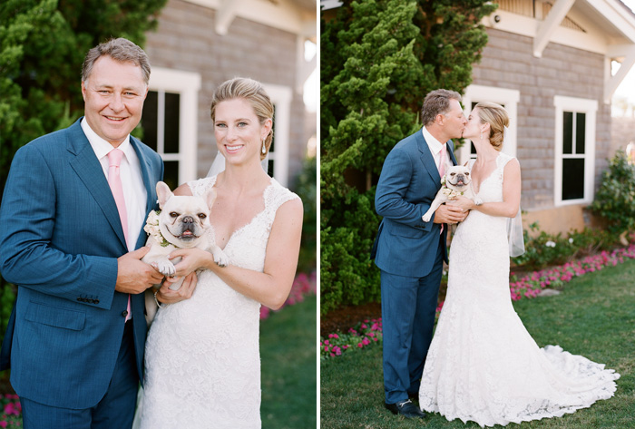 Margo & Tanguy pose with their adorable French bulldog during a couple shoot with Sylvie Gil