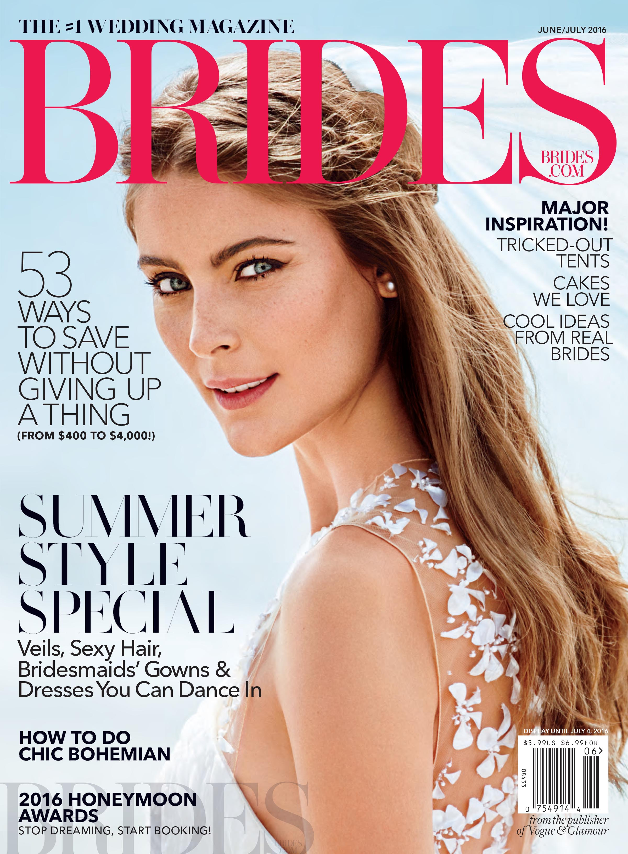 Brides Magazine cover June/July 2016 featuring Amelie & Laurent's wedding shot by Sylvie Gil