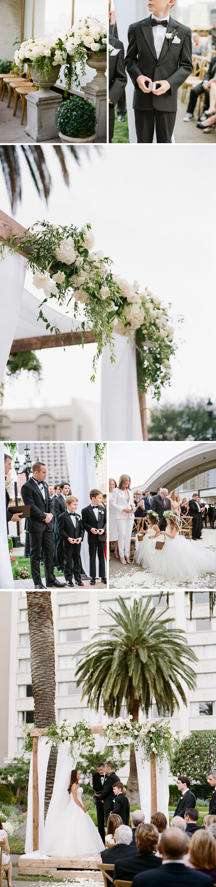 The ceremony space, a ringbearer stands by the arbor, flower girls proceed up the aisle, Meg & Ben exchange vows; photo by Sylvie Gil