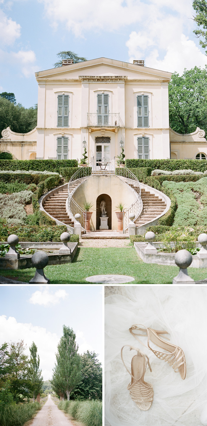 Shots of the beautiful grounds of a private estate in Provence, France, the location of Amelie & Laurent's nuptials; photos by Sylvie Gil