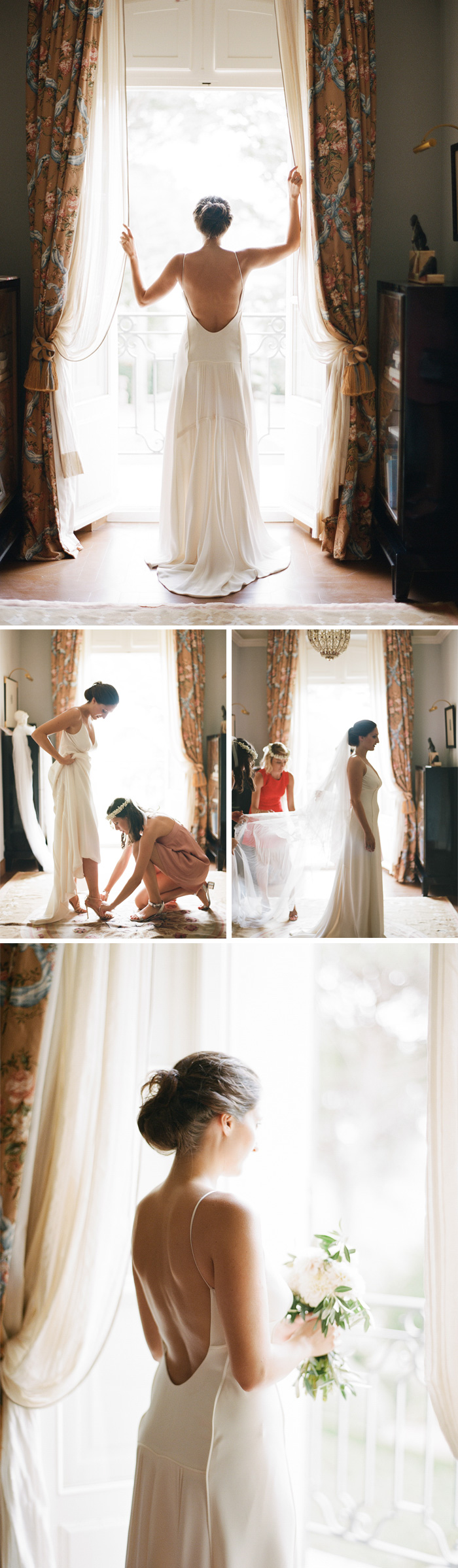 Amelie stands at the window in a wonderfully simple, elegant Celestina Agostino gown; her bridesmaids help her into her shoes; photos by Sylvie Gil
