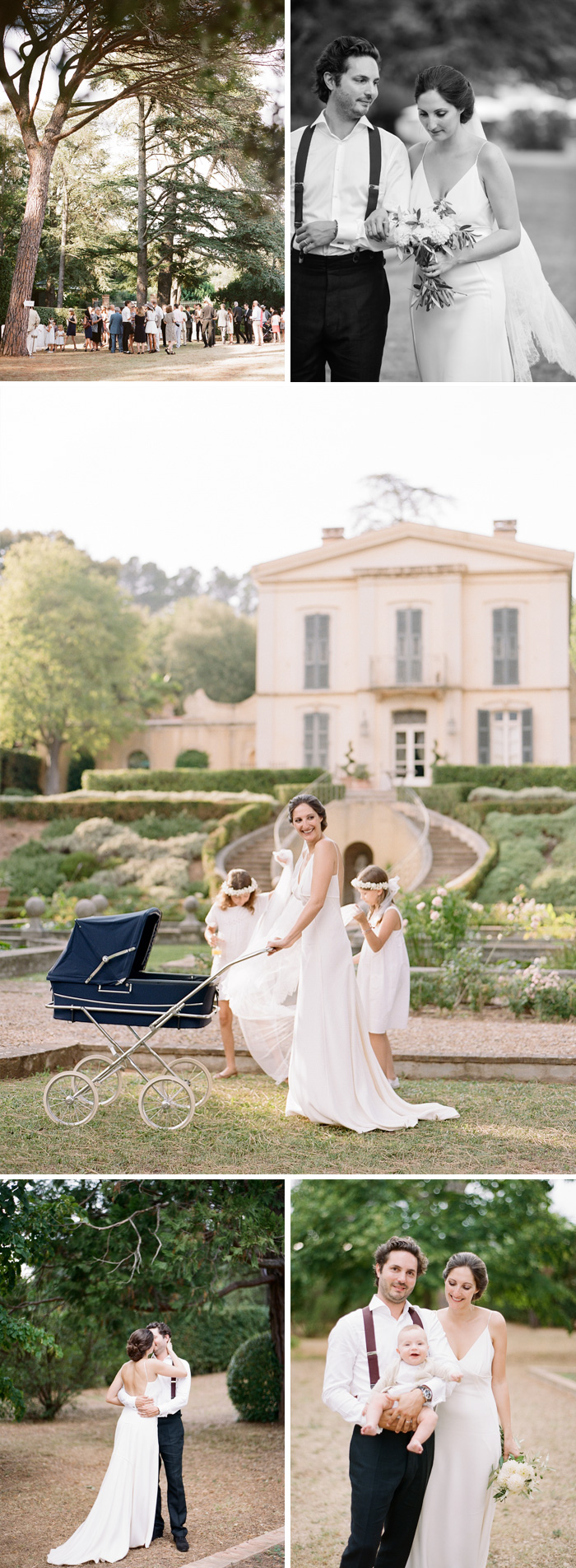 Amelie & Laurent spend a few moments alone with their son after the ceremony; Amelie pushes a vintage baby pram with the flower girls outside the chateau; photos by Sylvie Gil