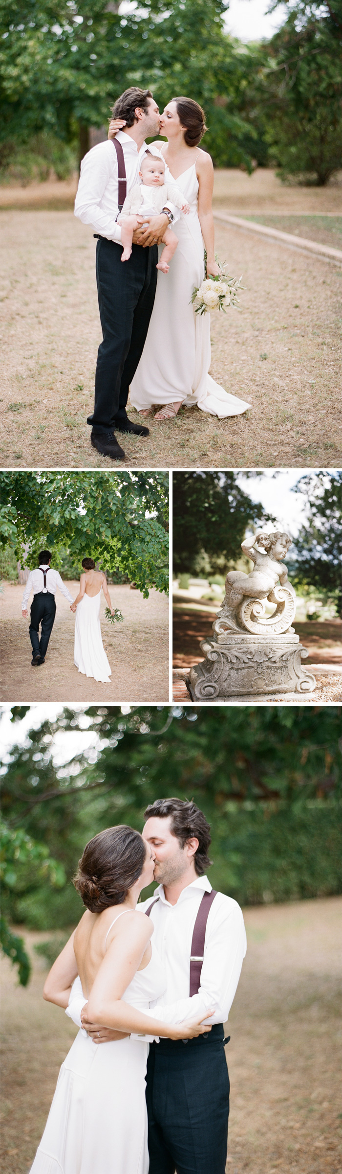 Amelie & Laurent steal kisses and embraces on the grounds of the chateau's estate in Provence, France; photos by Sylvie Gil