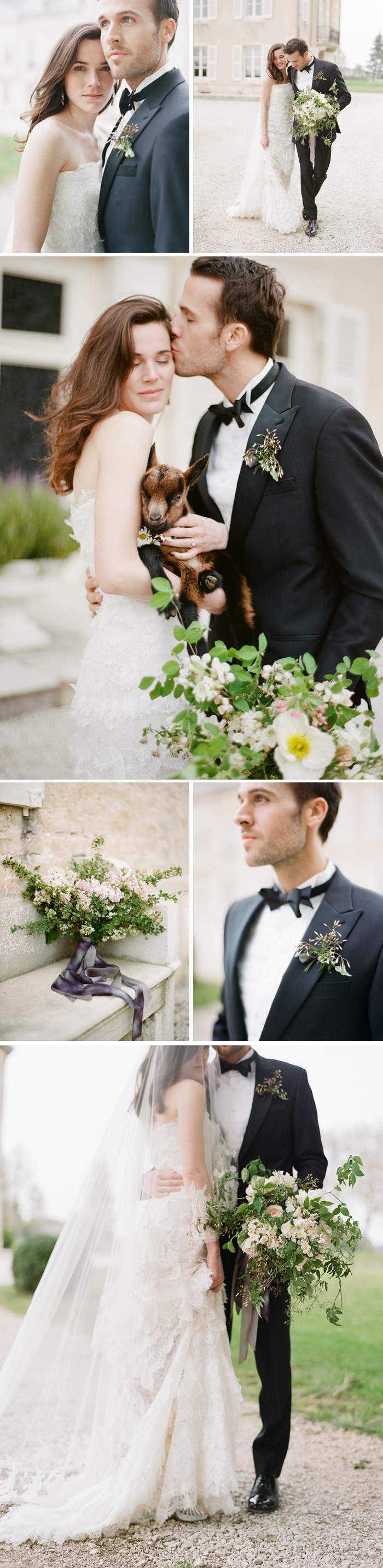 Romantic shots of the bride in a fluttery lace Oscar de la Renta gown and the groom, with a baby goat to add to the rustic atmosphere; photo by Sylvie Gil