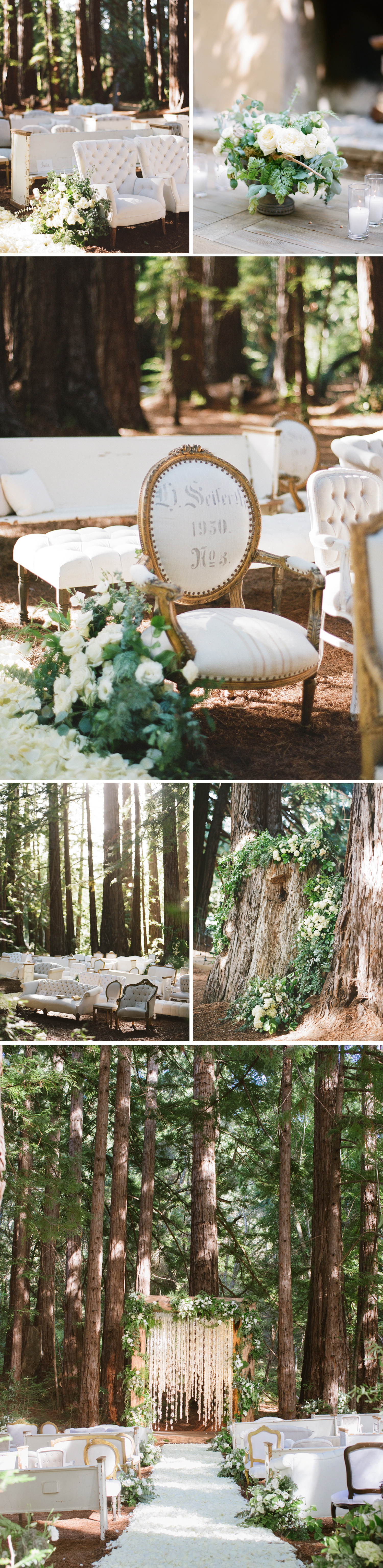 Eclectic white furniture make up the seating for a beautiful, dappled-sunlight ceremony space surrounded by towering redwood trees. The aisle is carpeted with white rose petals; photos by Sylvie Gil