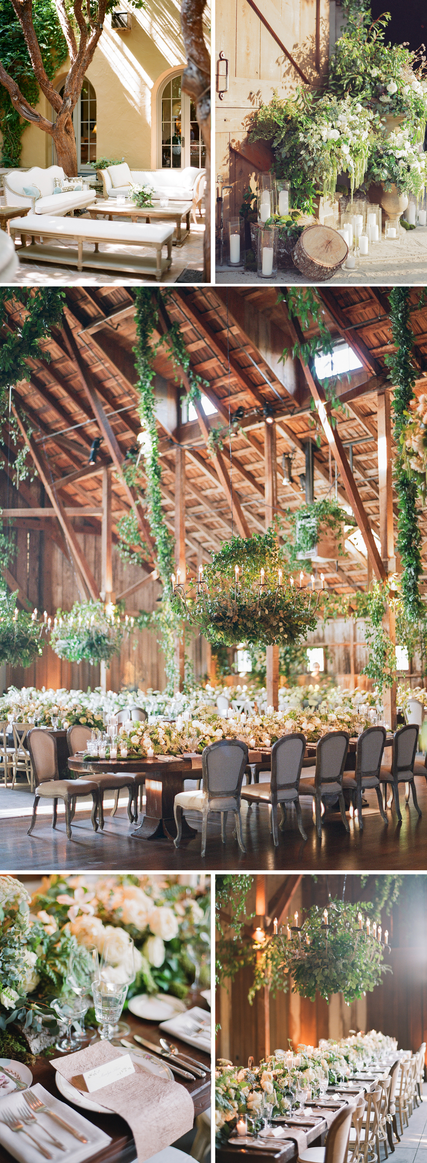 Shots of the indoor barn reception - thick vines and dense, white rose-studded foliage line the tables and chandeliers; photos by Sylvie Gil