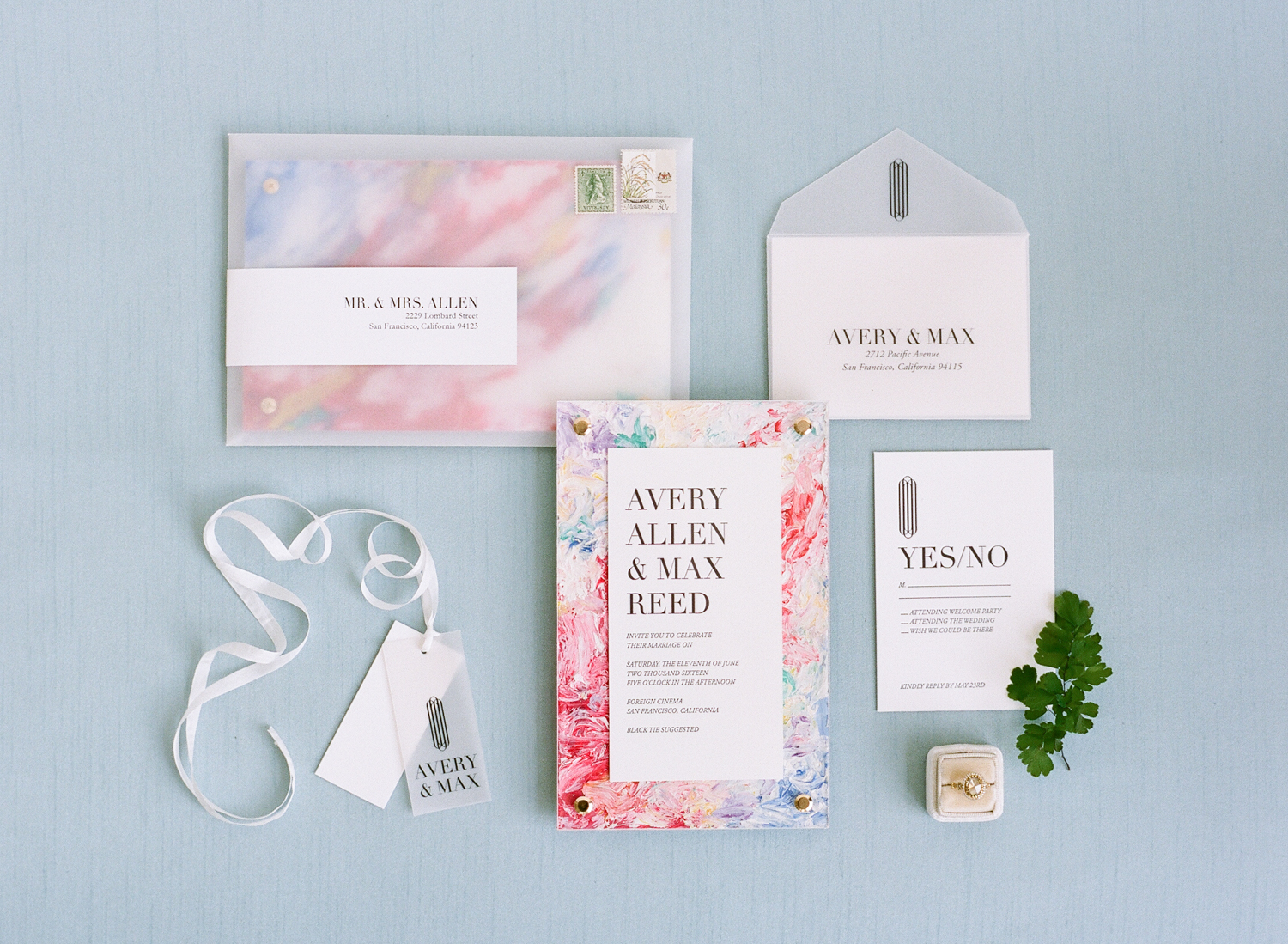 Colorful marble invitations, translucent envelopes, wedding paper suite; Sylvie Gil Photography