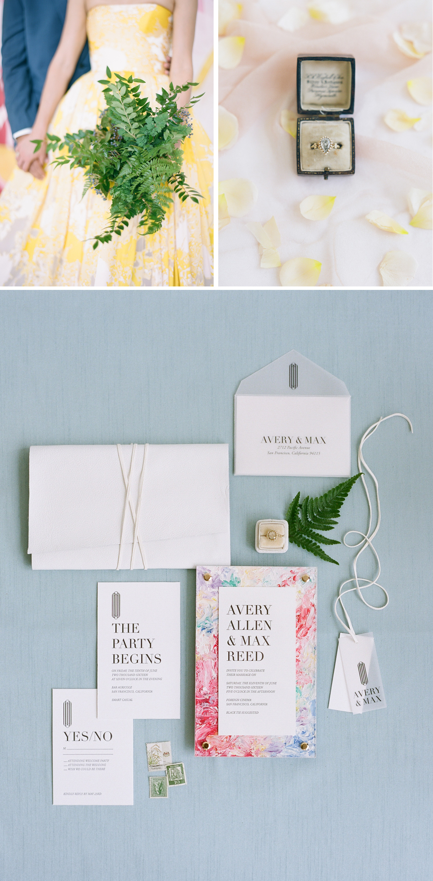 Colorful marble wedding invitation suite, vintage ring box; Sylvie Gil Photography