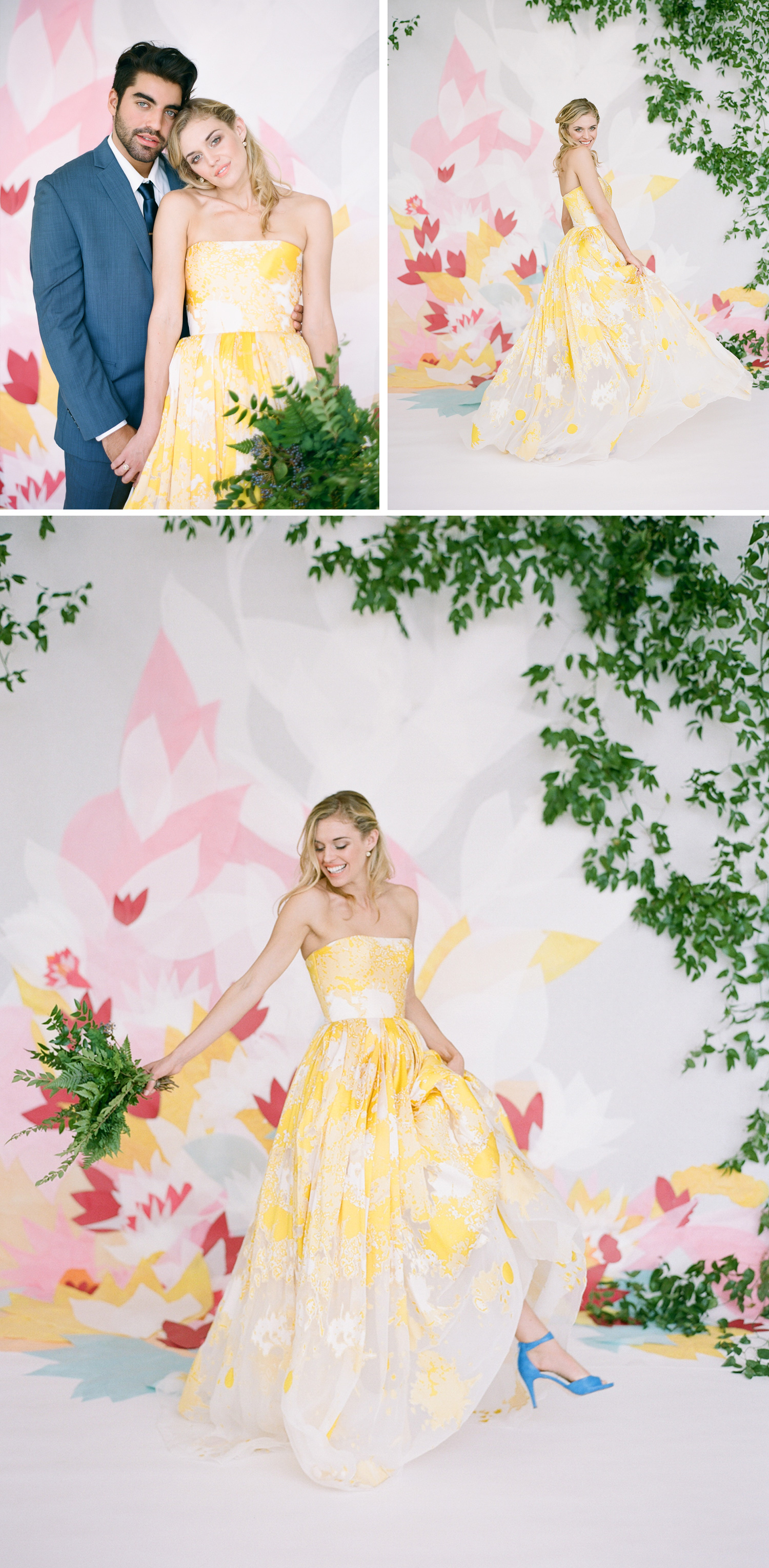Colorful yellow wedding gown, blue ankle strap heels; Sylvie Gil Photography