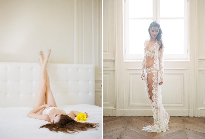 Boudoir shots of the bride in Chateau de Varennes  ; Sylvie Gil Photography