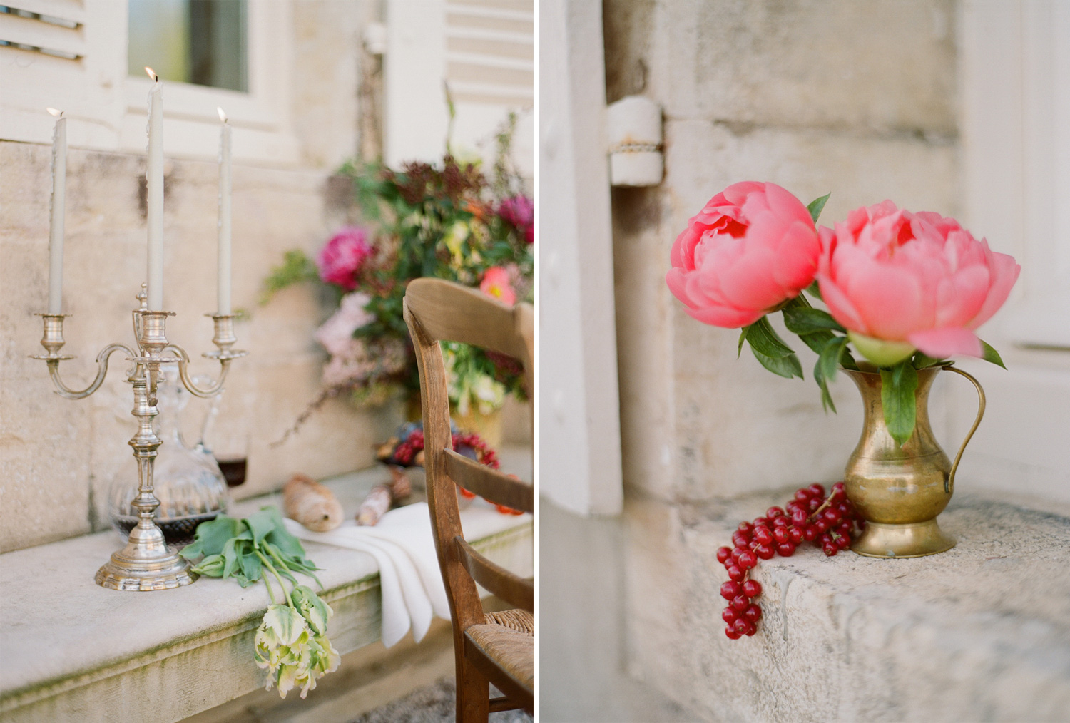 An antique   candelabra and wedding reception details; Sylvie Gil Photography