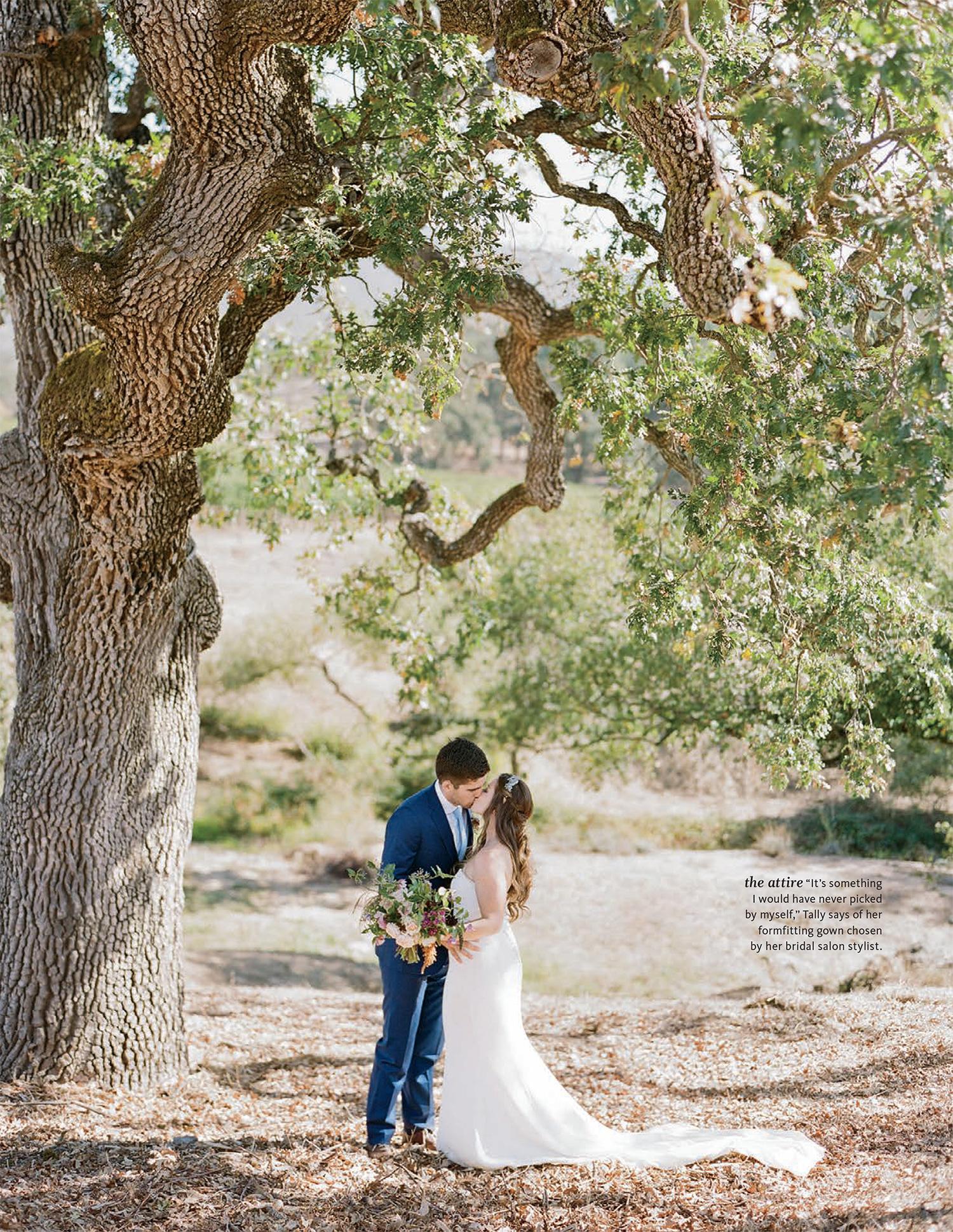 Tally & Sam's spread in The Knot Fall 2016 - couple kisses under oak tree; Sylvie Gil Photography