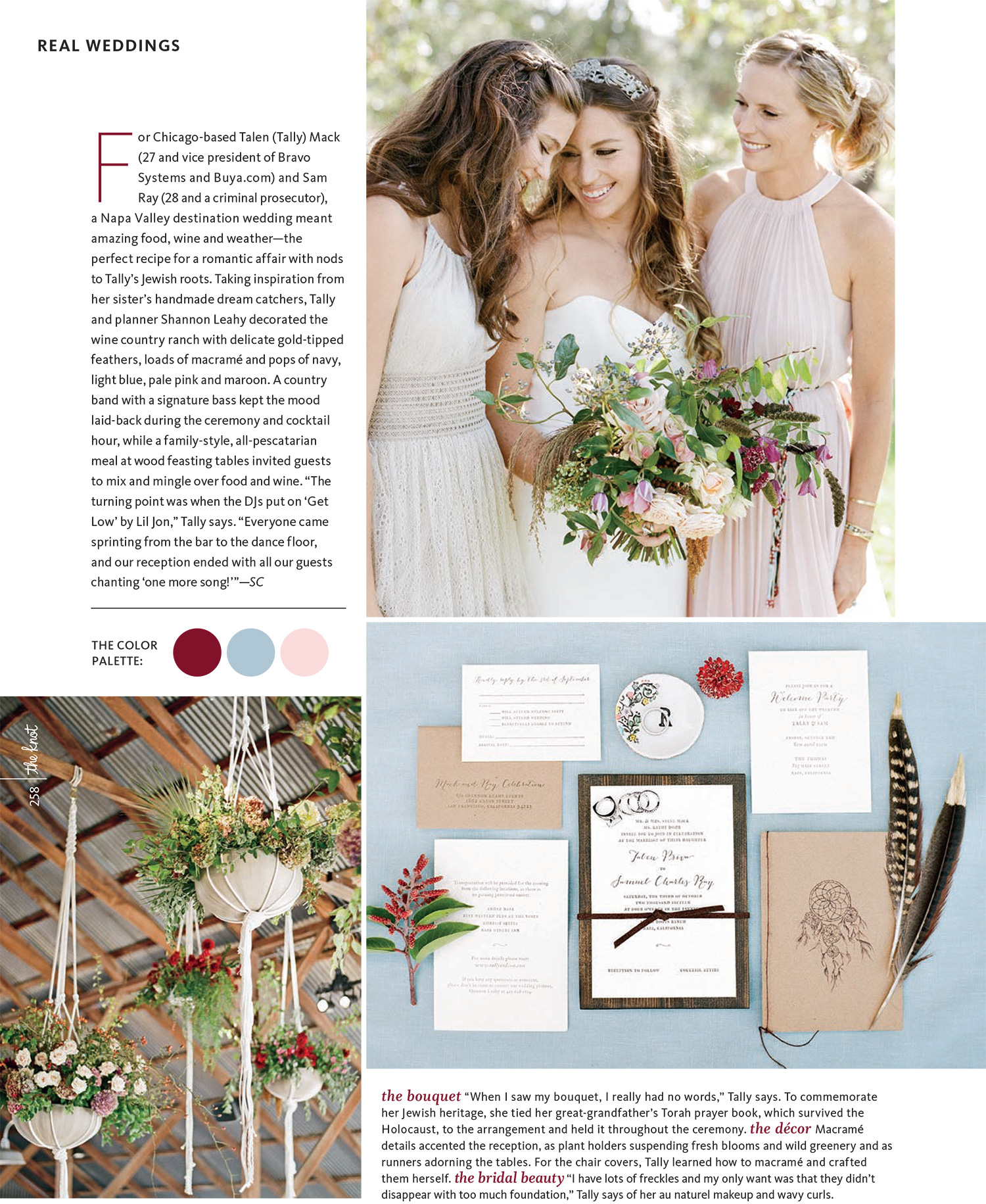 Tally & Sam's spread in the Knot - bohemian florals and paper suite; Sylvie Gil Photography