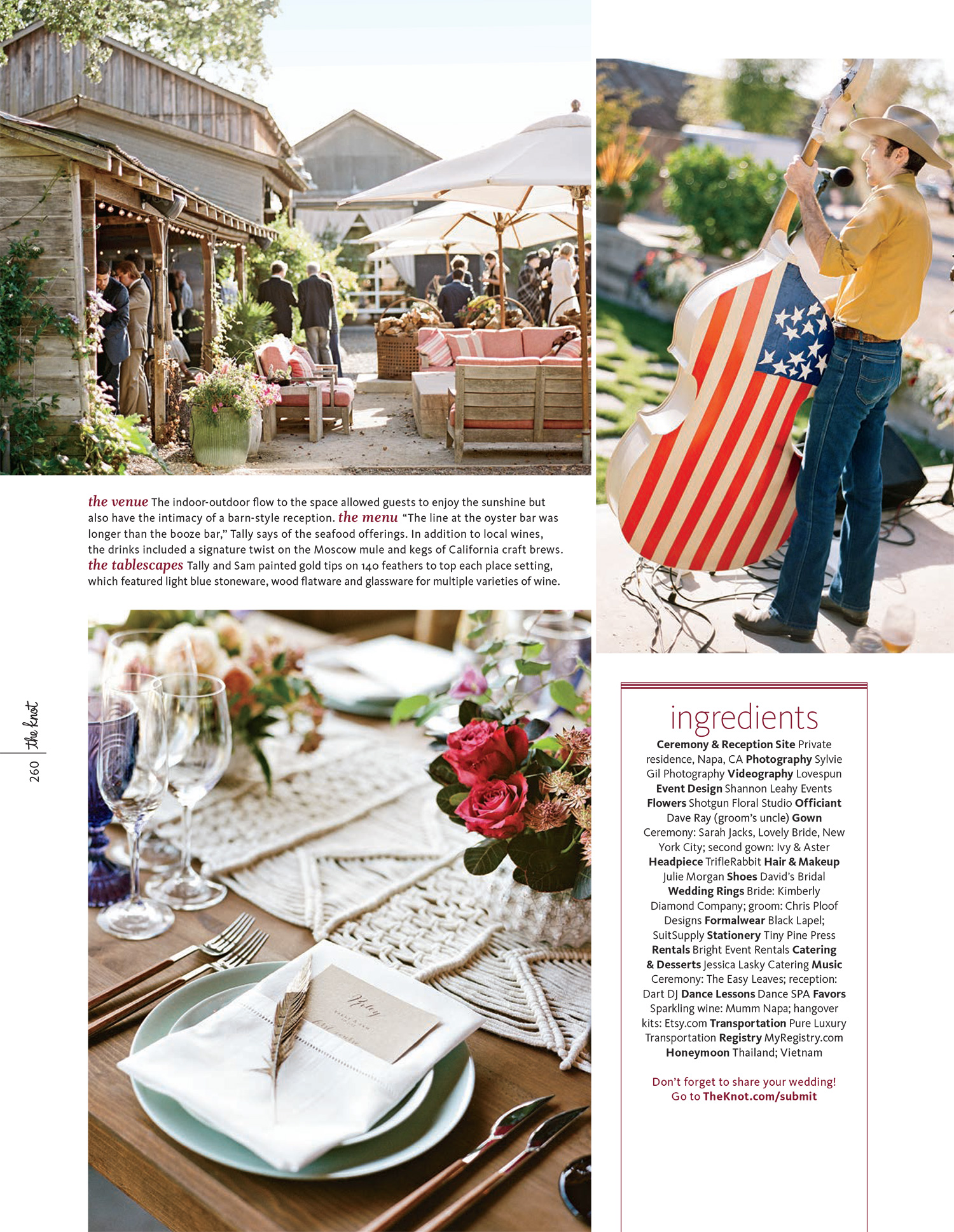 Tally & Sam's barn reception and Americana details featured in The Knot Fall 2016; Sylvie Gil Photography