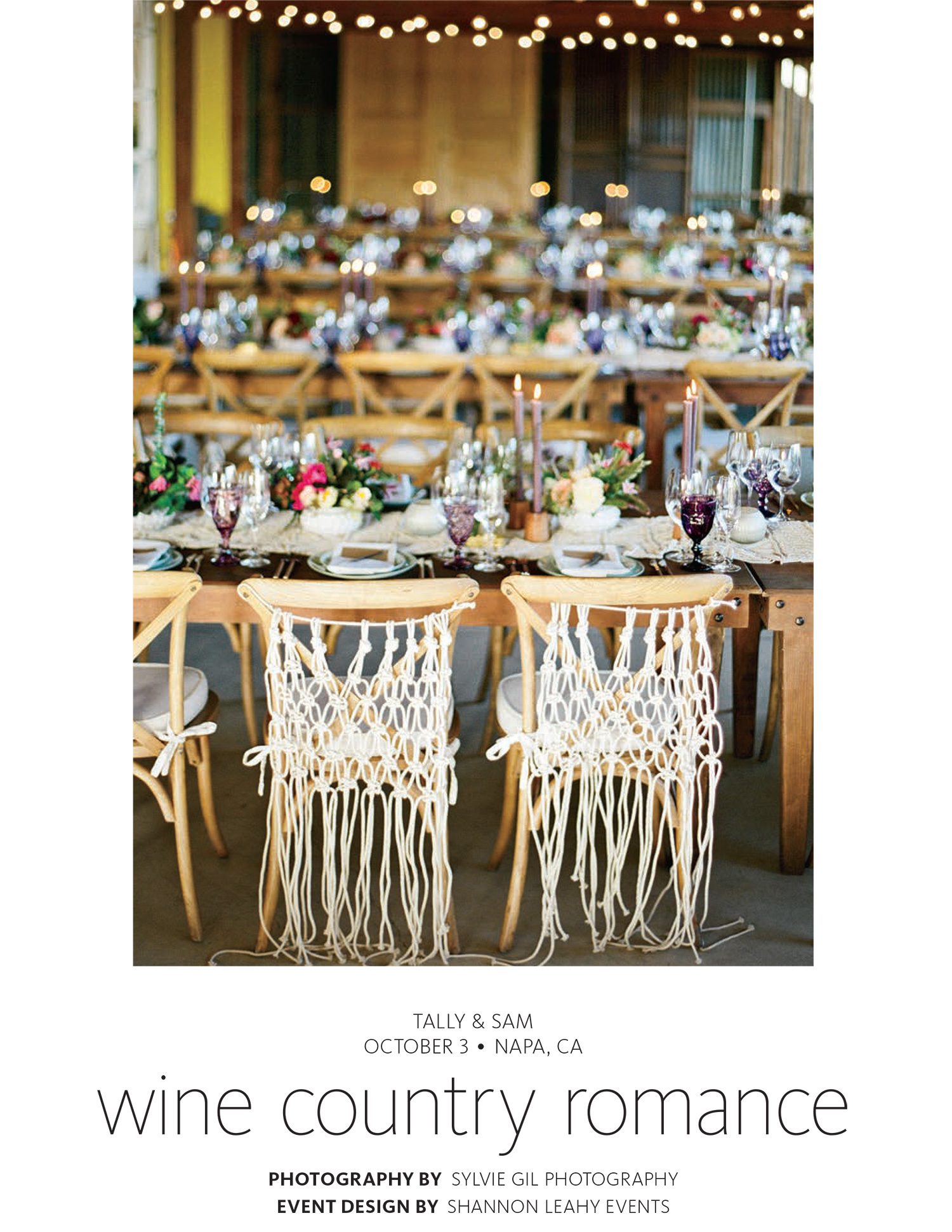 Tally & Sam's spread in The Knot Fall 2016 - wine country romance; Sylvie Gil Photography