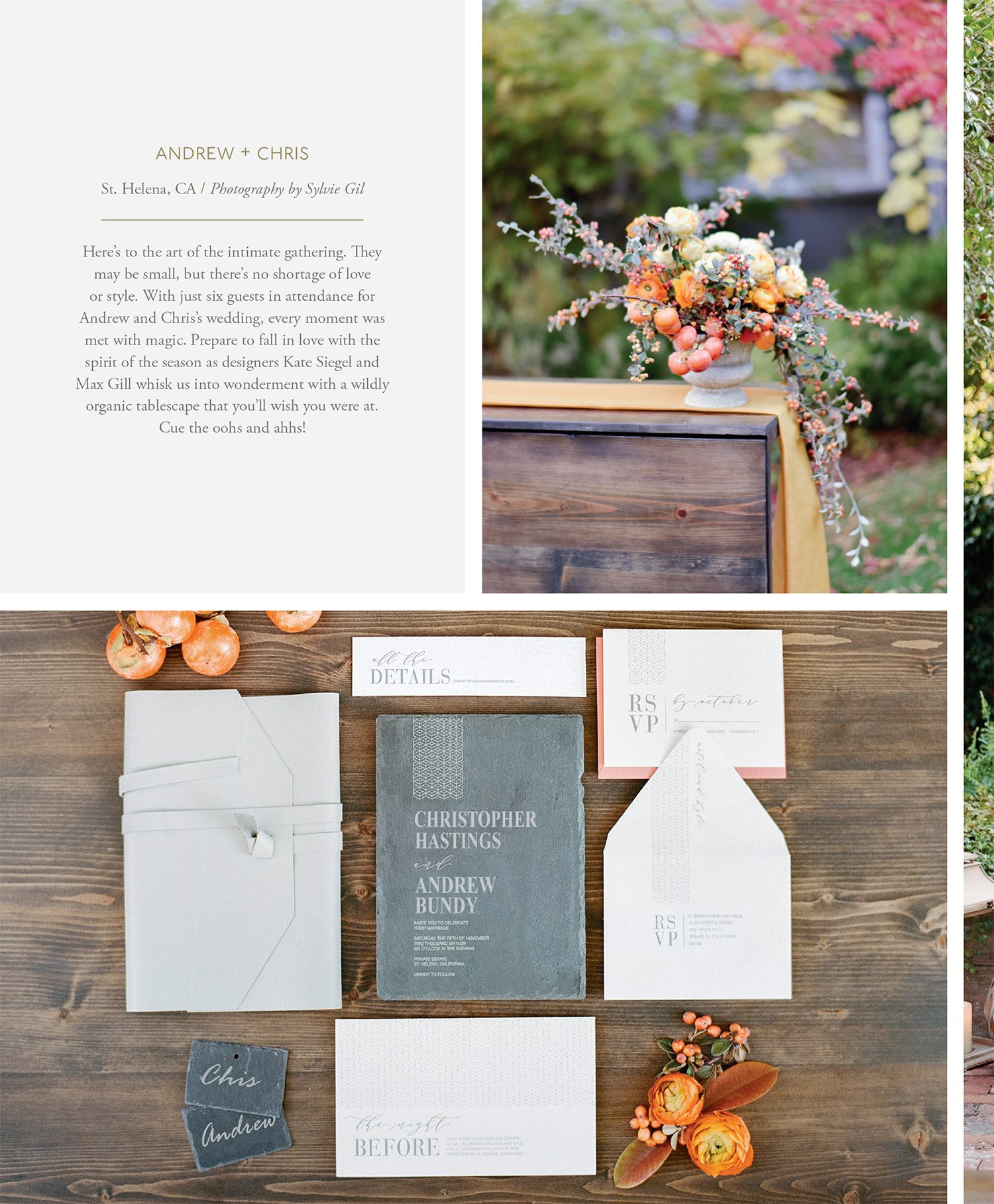 Chris & Andrew's invitation suite and Max Gill florals, featured in Flutter Magazine; Sylvie Gil Photography