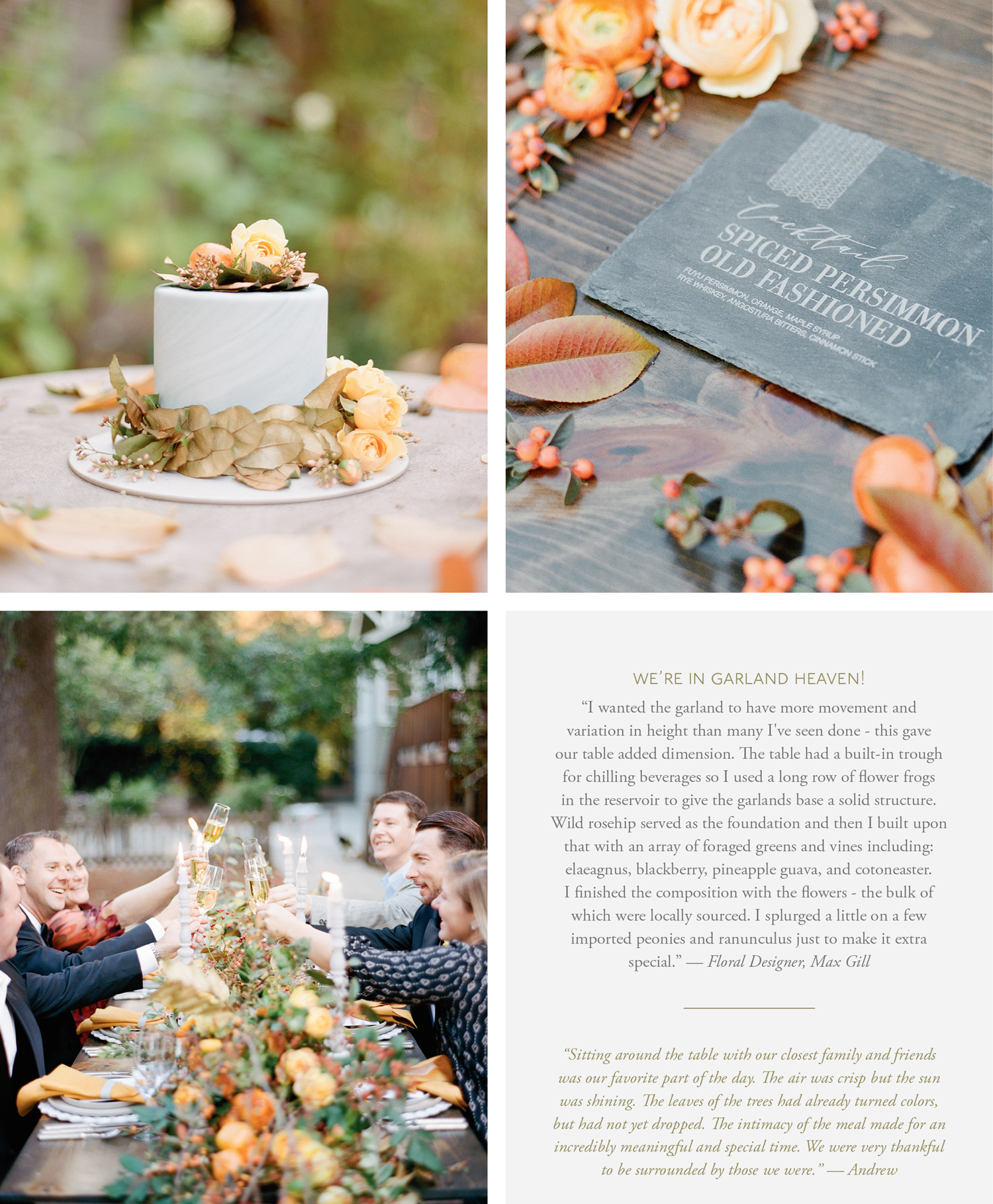 Chris & Andrew's intimate wedding reception, cake, and invitation suite; Sylvie Gil Photography