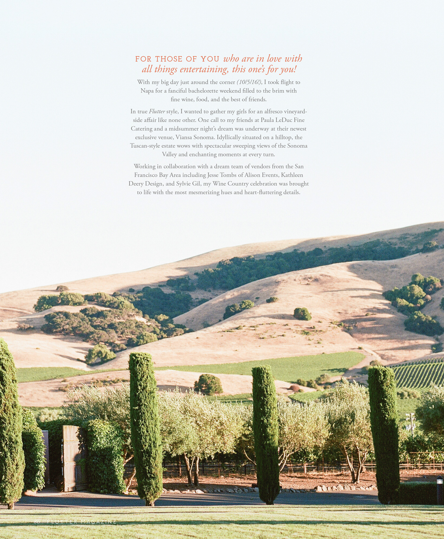 Napa Valley backdrop of editorial shoot in Flutter Magazine; Sylvie Gil Photography