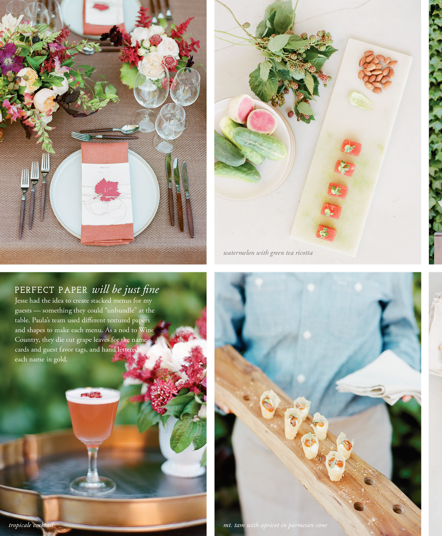 Table settings, hors d'oeuvres and decor from a style shoot called Gather in Flutter Magazine; Sylvie Gil Photography