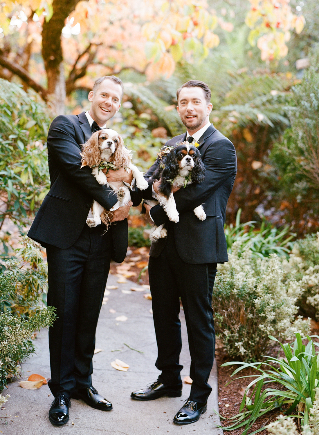 Chris & Andrew holding their King Charles spaniels before the wedding; Sylvie Gil Photography