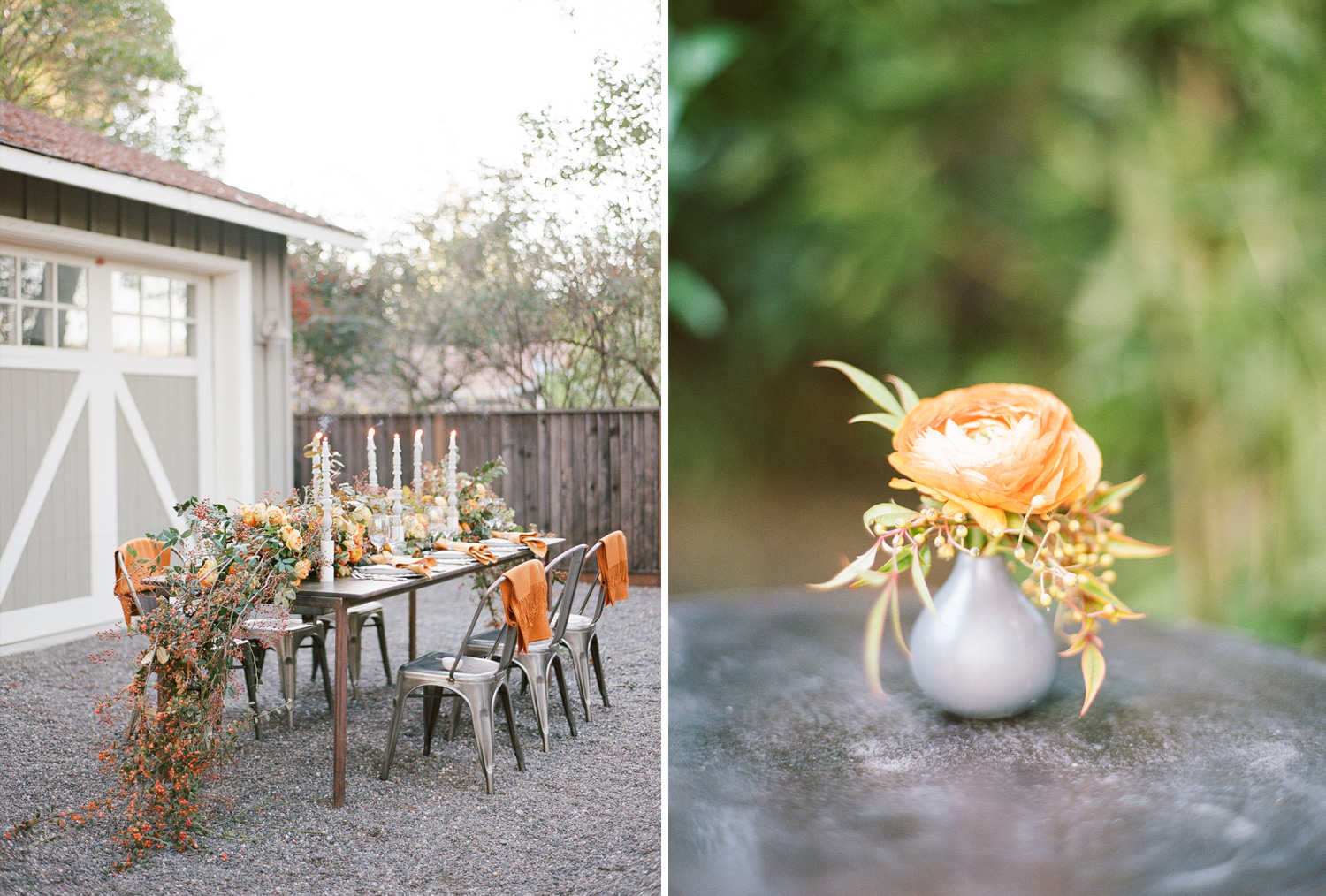 Dark wood reception table with steel chairs,persimmon-themed florals and tall white candelabras; Sylvie Gil Photography
